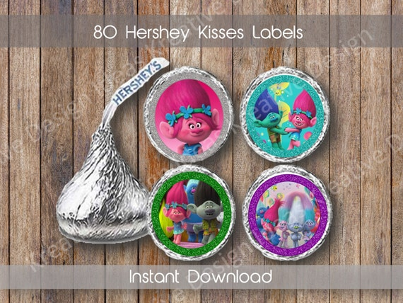 Trolls Hershey Kiss Stickers Personalized