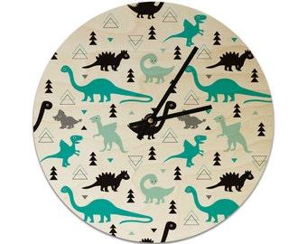 Dinosaurs Geometric Pattern Childrens Clock / Kids Clock