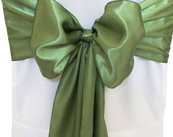 """7""""X108"""" Clover Satin Sashes Chair Cover Bow Sash WIDER FULLER BOWS Wedding Party"""
