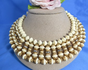 vintage Egyptian style choker white plastic beads Miriram Haskell style Boho/Offered by poshparagons for you or to give as a gift