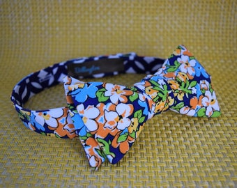 Floral/Blue Patterned Bow Tie