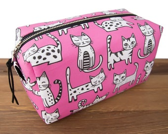 Cat Makeup Bag - Cat Lover Gift - Cat Bag - Crazy Cat Lady - Cat Toiletry Case - Cat Pouch - Gifts for Teens - Pink Cats #57