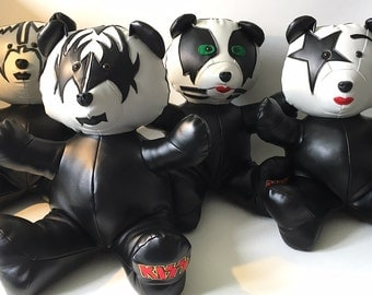 "4 Bears ""KISS"" - Handmade plush - Inspired by the Kiss group"