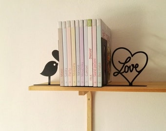 Bird and Love Heart Bookends Set