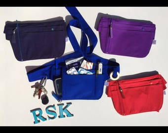 Hip carry bag, bum bag, utility belt, nurses pouch, nurse organizer, nurse pocket organizer, gifts for nurses, hip bag, festival belt