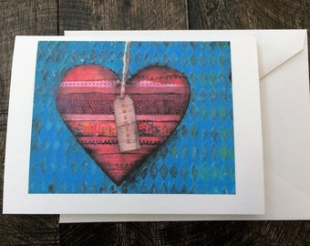 Imagine Red Heart notecard and envelope Set of 4