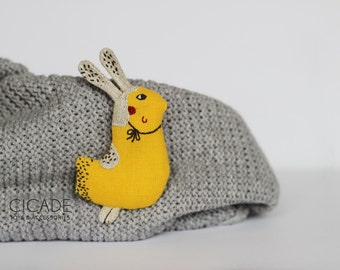 Bird brooch Easter bunny Mothers day gift Spring accessories Linen bird Fabric bunny Gift for little one Yellow bird Miniature bird pin