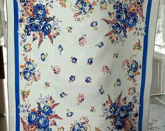 1940's VINTAGE TABLECLOTH in white, blue & pink, Cotton/Linen