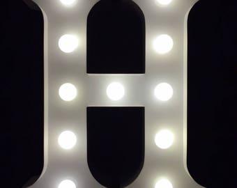 "Hand made metal white H marquee letter light 9""height light up alphabet letter night light nursery light  kids light wedding decor"