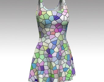 Mosaic Dress, Pastel Dress, Colorful Dress, Stained Glass, Flare Dress, Skater Dress, Fit and Flare, Fitted Dress, Bodycon Dress, Springtime