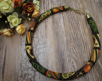 Beaded crochet necklace patchwork seed bead necklace, handmade jewelry, green amber , crochet rope, seed bead necklace, Long Necklace Boho
