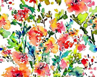 Beautiful Floral Print Raw Silk Fabric By Meter
