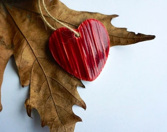 Handmade Ceramic Red Heart Shaped Ornament