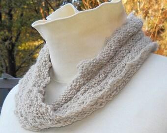 unisex hand knit cozy tan mobius cowl