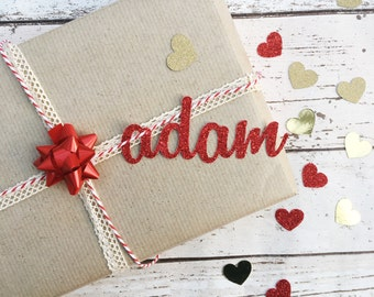 Valentines Personalised Script Name Gift Tags (Pack of 4 Tags)