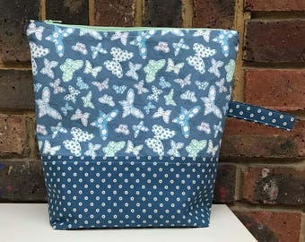 Blue Butterflies Zippered Project Bag
