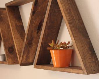 Set of 3 Large Triangle Shelves, Geometric Triangles
