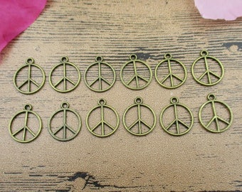 50 Peace Charms,Antique Bronze Tone,Round Tag-RS527