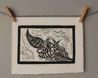 feather print, feather art, monochrome decor, linocut, feathers, black and white art, wall art, patterned feather, home decor