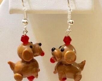 Glass Puppy Dog Love Earrings