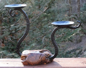 Dual candle holder, forged iron and pine knot base