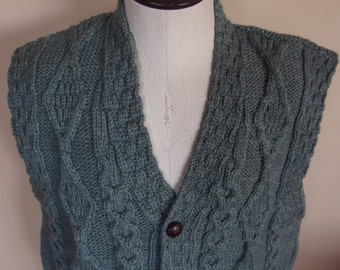 Wool Knit Vest Vintage Button Front LLBean Made in Ireland Mens Vest Cables Heather Sage Green