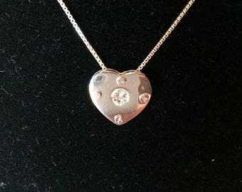 Vintage 1990s Sterling Silver 925 Heart Necklace on Chain