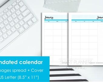 "Printable Undated Calendar, 2 Pages spread. US Letter Size (8.5""x11""), Portrait. Includes cover. Instant download. PDF format. 300 dpi."