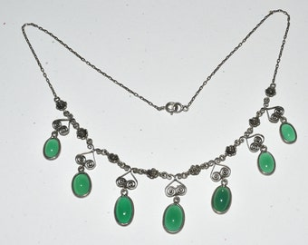 Sterling Silver Green Chalcedony Drop Necklace