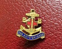 Vintage Boys Brigade brass enamel pin badge, sure and steadfast, anchor badge, vintage British boys club badge brooch, red cross