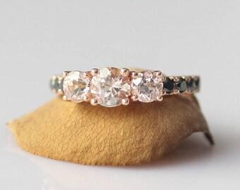 New!!! Natural Morganite Ring 14k Rose Gold Morganite Engagement Ring Morganite Anniversary Ring Valentine Gift Morganite Wedding Ring