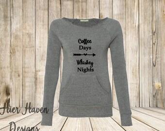 Coffee days, Whiskey Nights Wideneck eco fleece sweatshirt