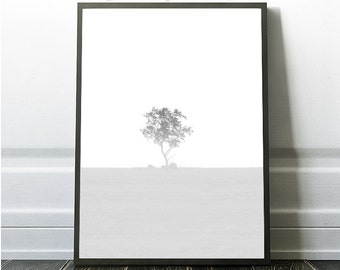 Landscape print, Nature fog print, black and white tree photography,minimalist wall art, scandinavian art, nordic art, nature fog print, fog
