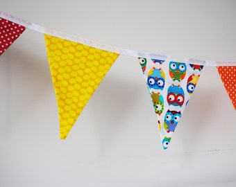 Bunting, bright owl, birdy flags, children's room, kids room decor