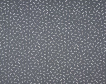 Grey cotton Jersey small leaves children women's fabric by the metre white 0.50 metres
