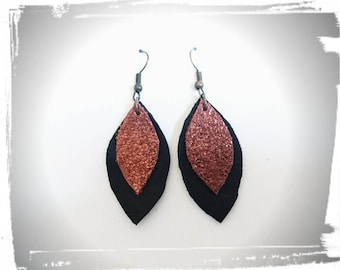 Leather black and copper earrings
