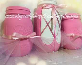 Ballerina inspired mason jar party set, tutu jars, pink decor, birthday centerpiece, room decor