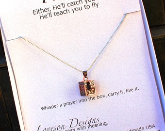 Christian Prayer Box Necklace with Antiqued Copper Charm