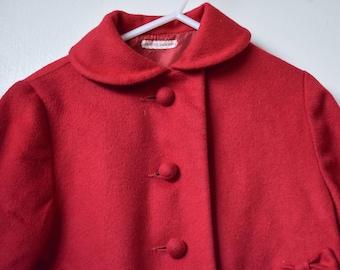 Vintage 1950s Little Girl Red Pea Coat