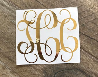 3 inch Gold Foil Monogram Decal Sticker / Gold Sticker / Yeti Monogram / Gold Mirror Decal Sticker / Laptop and Car Decal