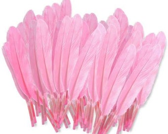 """10 Light Pink Goose Feathers for Crafts, Jewelry, Smudging Fan, Fishing, Hair, Hat, Wedding Decorations, Etc. 4 to 6"""" inches long"""