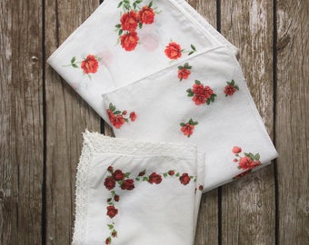 3 white red rose vintage handkerchiefs, floral hankies, wedding hankie, flowergirl ladies hankies, antique handkerchief