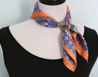 Vintage Square Scarf, Geometric Print, Tribal Scarf, Purple Scarf, Head Scarf Hair Wrap, Neck Scarf, Head Covering, Head Scarf Chemo