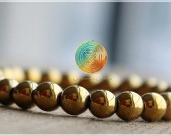 Hematite Bracelet,6mm Genuine Hematite bracelet, Golden Hematite Jewelry,gold Hematite Bracelet,Beaded Gemstone Stretch Bracelet, PROTECTION