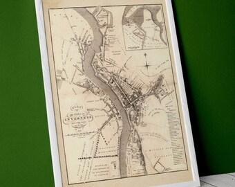 Old map of Inverness | Giclée Fine Art Print | Vintage town plan, antique, antique map of Inverness, Highlands of Scotland 1883
