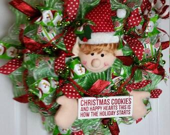 Christmas in July Sale,Deco Mesh Christmas Elf Wreath