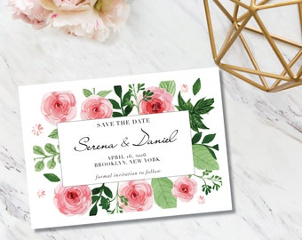 Save The Date // Watercolor Floral Frame // Invitation // Elegant //