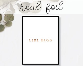 Girl Boss Print // Real Gold Foil // Minimal // Gold Foil Art Poster // Home Decor // Modern Office Print // Typography // Fashion