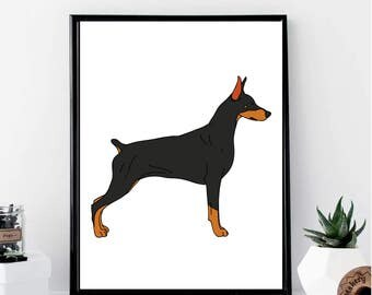 Doberman Drawing Print // Minimalist // Wall Art // Office DIY // Scandinavian // Modern Office // Fashion Poster // Dog Poster // Modern