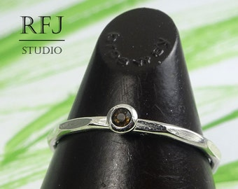 Natural Smoky Quartz Faceted Silver Ring, 2 mm Round Cut Smokey Quartz Ring with Facets, Sterling Stacking Smoky Quartz Textured Stack Ring
